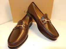 NEW COLE HAAN ASCOT II DARK BROWN LEATHER LOAFER WITH GOLD BIT AND LEATHER SOLES