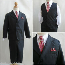 LTO Black pinstripe white red tie toddler teen boy wedding party formal suit