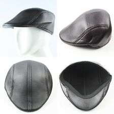 Men's Solid Black Warm Motorcycle PU Leather Cabbie Golf Beret Newsboy Caps Hats