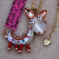Betsey Johnson Crystal Opal Donkey Pendant Sweater Chain Necklace