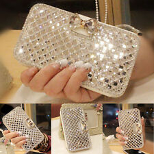 Crystal Bling Diamond Flip Leather Glass Case Cover Wallet For Samsung Galaxy
