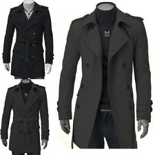 Winter Mens Double Breasted Trench Coat Long Jacket Overcoat Outwear Parka