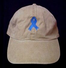 Blue Ribbon Awareness Hat Embroidered Cap Colon Cancer Child Abuse Khaki Tan New