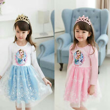 New Xmas gifts Girls Kids Princess Elsa Anna Tutu Dress Cosplay Skirt Costume