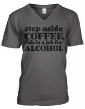 Step Aside Coffee This Is A Job For Alcohol Humor Funny Joke Mens V-neck T-shirt