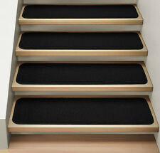 Set of 15 ATTACHABLE Carpet Stair Treads BLACK runner rugs