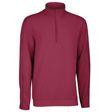 Ashworth Mens French Rib Solid 1/4 Zip Golf Pullover Sweater Jumper - Burgundy