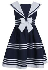 Bonnie Jean Girls White Navy Nautical Sailor Summer Easter Holiday Dress 7 - 16