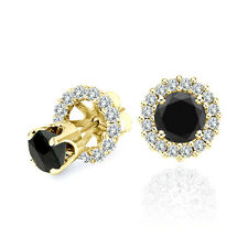 1.50 Carat Black Diamond Solitaire Stud Earrings Halo Jackets 14K Yellow Gold