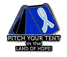 Light Blue Cancer Awareness Ribbon Pin Pitch Tent Land Hope Camping Inspire New