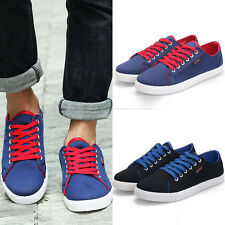 2014 Mens British Style Lace Up Flats Canvas Board Shoes Casual Loafers Sneakers