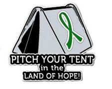 Green Cancer Awareness Ribbon Lapel Pin Pitch Tent Land Hope Camping Camper New