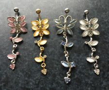 1 Belly Buton Piercing Noble Butterfly EXTRA Long 70 Mm Color Selection @ Silver