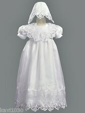 Girls White Christening Baptism Gown Dress Embroidered Organza New 3-24M