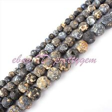 6,8,10,12mm Natural Round Frost Multicolor Ocean Jasper Gemstone Beads Strand15""
