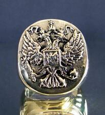 BRONZE SIGNET SEAL RING TWIN HEAD RUSSIAN EAGLE COAT OF ARMS ANTIQUED ANY SIZE