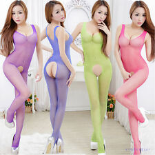 Sexy Fishnet Lingerie Open Crotch Underwear Nightwear Bodysuit Babydoll Dress