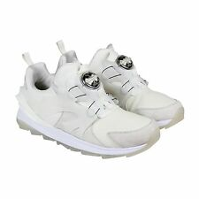 Puma Mens Disc Swift Tech White Leather Slip On Sneakers Shoes