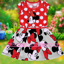 Minnie Mouse Printing Clothes Kids Girls Princess Party Dress Age 1-2-3-4-5-6Y