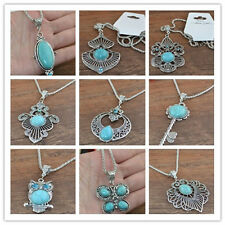 hot! Classical Turquoise cute tibet silver hook Pendant+Necklace