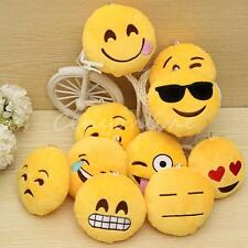 Lovely Emoji Smiley Emoticon Yellow Round Cushion Pillow Toy Keychain Doll Gift