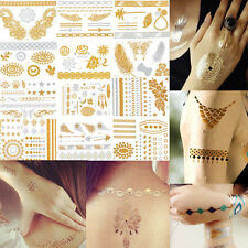 Temporary Metallic Tattoos Hands Fingers Nails Gold Silver Black Flash Art DIY