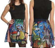 3X Disney BEAUTY and the BEAST MINI flare STAINED GLASS DRESS with torrid bow