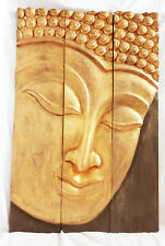 LARGE BUDDHA FACE TEAK WOOD WALL PLAQUE DECOR ART hand-carved in Thailand new