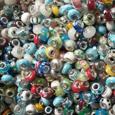 NEW Bulk Loose Silver Murano Glass Lampwork Beads Fit Jewelry Charm Bracelet Hot