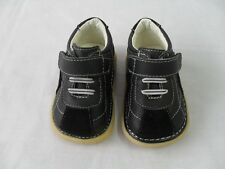 New Black Genuine Leather & Suede Squeaky Shoes Baby Toddler Boy Sizes 3 4 5 6 7