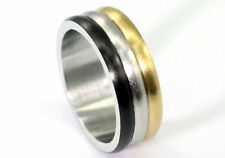 Silver & Gold & Black Tone Hip Hop Stainless Steel Ring MR149