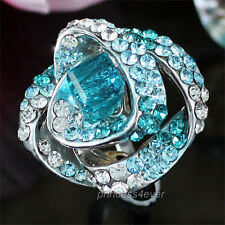 Aqua Blue Flower Ring use Swarovski Crystal SR146