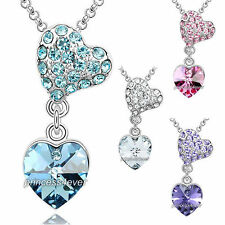 Blue Pink Silver Purple Heart Pendant Necklace use Swarovski Crystal