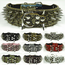 Gator PU Leather Spiked Studded Large Dog Collar Pitbull Terrier Bully S M L XL