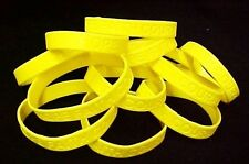 """Yellow IMPERFECT Bracelets 50 Piece Lot Silicone Wristband Cancer Cause 8"""" New"""
