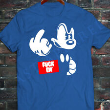 New Mens DOPE disney mickey mouse middle finger angry obey red Blue T-Shirt