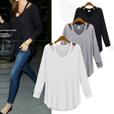Sexy V Neck Off Shoulder Long Sleeve Casual Cotton Plus Loose T Shirt Blouse Top