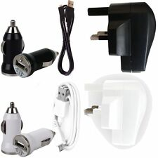 USB MAINS ADAPTER CHARGER+CAR BULLET+DATA SYNC LEAD FOR VODAFONE ZTE BLADE V880