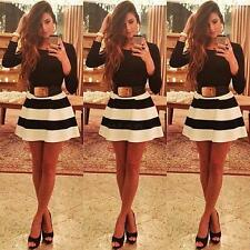 Women Long Sleeve Striped Gown Casual Mini Dress Cocktail Evening Party Dress