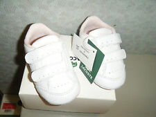 Lacoste Baby Beau Kids Shoes in White/Powder Pink Sz 3 Us