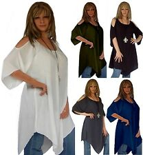 @Q493 BLOUSE TOP TUNIC SEXY SHOULDERS RAYON CRINKLE MADE 2 ORDER WOMENS FASHION