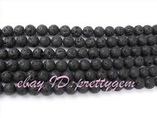 "Wholesale 8mm Round Black Lava Rock Gemstone Spacer Loose Beads (One Strand 15"")"