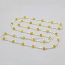 AA 3-4mm white akoya pearl + 8mm yellow red black green agate necklace s645