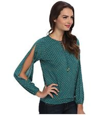Michael Kors Women's Blouse Green+Gold Peasant Split Sleeves S, L, XL NWT $79.50