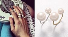 R255 Forever 21 Wedding Brides Bridal Accessories Elbe Pearl Silver Gold Ring US