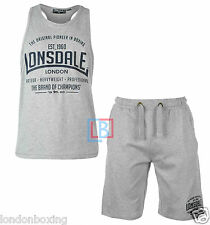 Lonsdale Boxing Gym Set Grey Singlet & Shorts Weights FREE POST Sizes S - 4XL