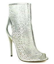 Esther-03 Silver Floral Mesh Peep toe Bridal Pump Stiletto Heels