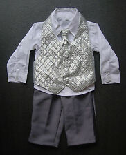 BABY BOY OUTFIT, Silver and Dark Grey Suit, Wedding, Christening, Ages 0-3 Yrs