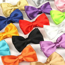 YHUA03 UK 14 Colour Mens Pre Tied Wedding Party Fancy Plain Necktie Tie Bow Ties
