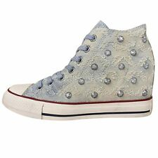 Converse Chuck Taylor All Star Lux Stud Denim Womens Wedge Casual Shoes